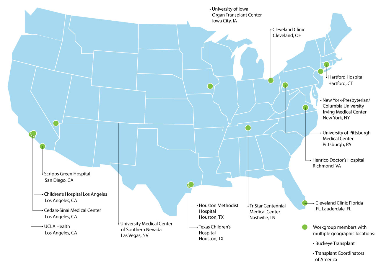 Map of the US with circles indicating the location of the 17 centers that participated in the workgroup