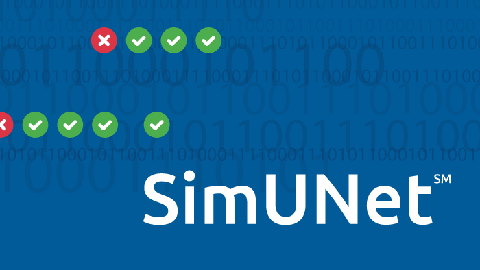 SimUNet words with binary numbers and green circles with checkmarks for organ offer acceptance