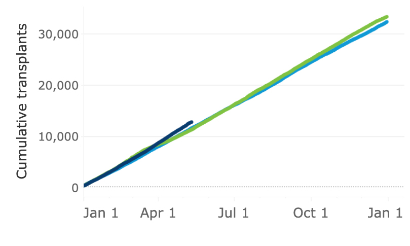 Line chart of deceased donor transplants with 2019 as light blue line; 2020 as green line; and 2021 as navy blue line