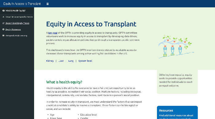 View of the equity in access to transplants dashboard