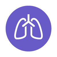 purple circle with line icon of lungs
