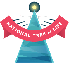 """Christmas tree with red banner containing words """"National Tree of Life"""""""
