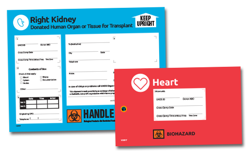 UNOS store - professional materials for organ labeling