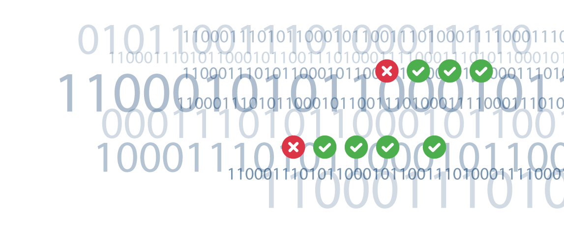binary 0s and 1s with green circles and checkmarks