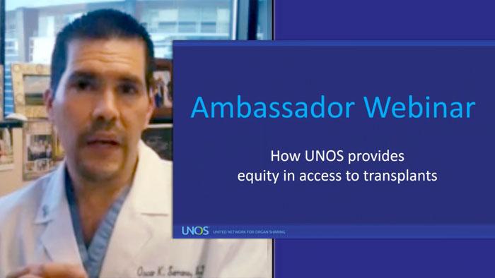 Screenshot from webinar showing Oscar Serrano, M.D. talking