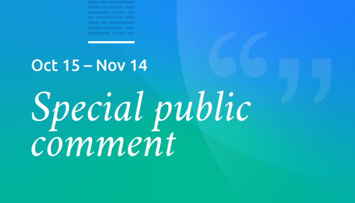 Special public comment session open Oct. 15 through Nov. 14