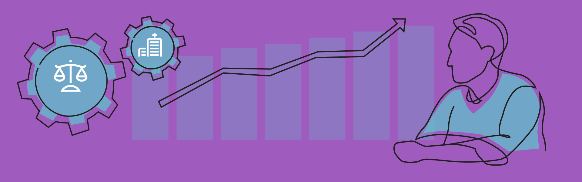 outline drawing of man over bar chart showing increase with balanced scales for equity