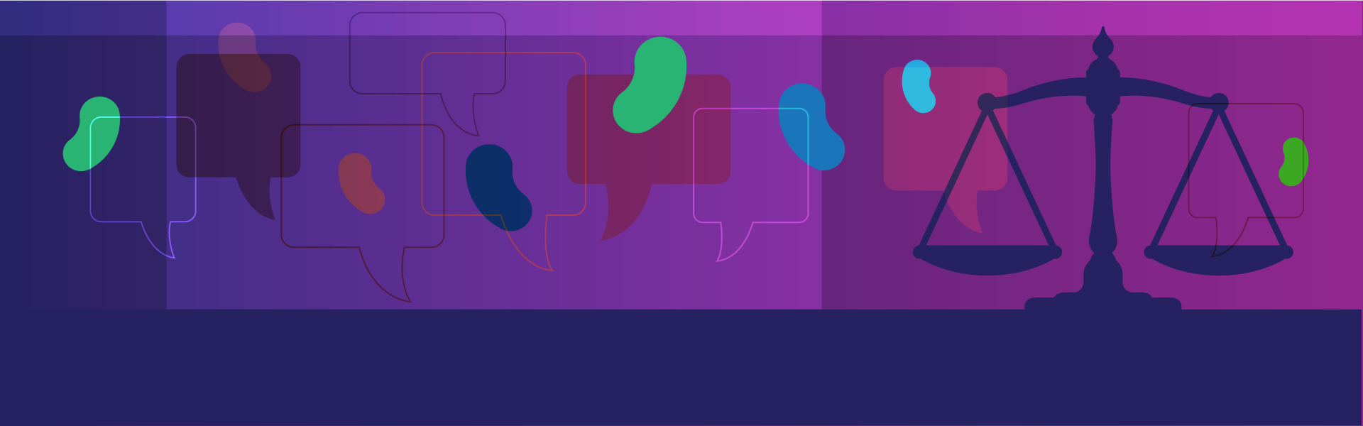 Dark purples and blues illustration of balanced scale with discussion bubbles and icons of kidneys