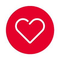 red circle with line icon of heart