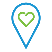 Wayfinding icon with heart inside