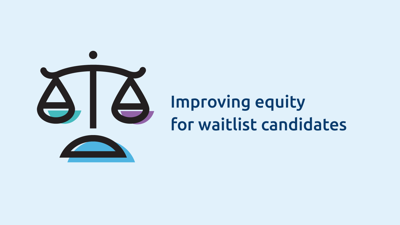 Illustration of balanced scales with text, Improving equity for waitlist candidates