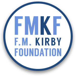 Circle with text FMKF, and F.M. Kirby Foundation