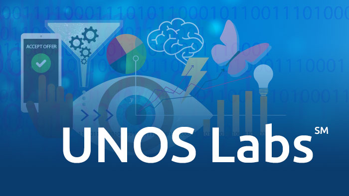 UNOS Labs over an illustration collage with an eye, charts, lightbulb and a funnel