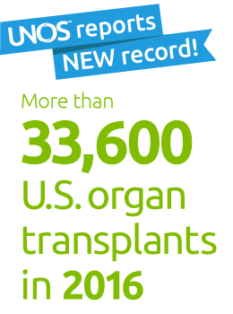 New record set: 33,608 organ transplants in 2016