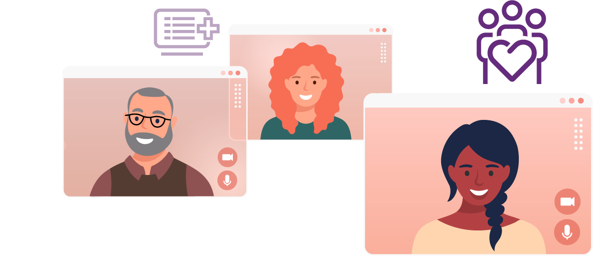 Illustration of 3 smiling people inside of computer screens